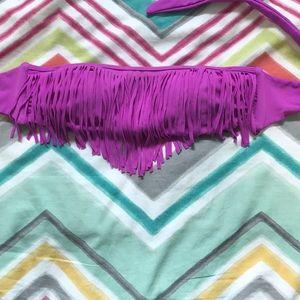 strapless violet fringed bathing suit